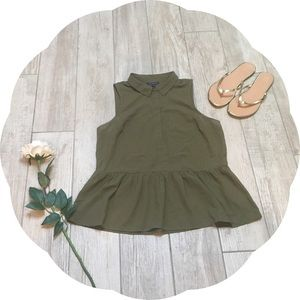American Eagle Green Peplum Shirt